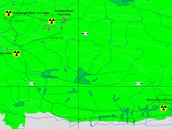 Schématická mapka střelnice Lop Nor s vyznačenými zeměpisnými souřadnicemi pro