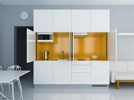 Kuchyně o velikosti 240 centimetrů má dvířka, která se dají zasunout do bočních