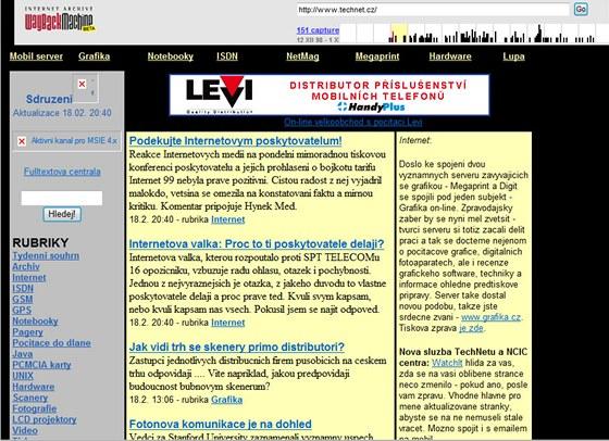 Technet.cz z v roce 1999