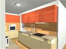 Pohled do kuchyně: první varianta