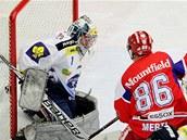 Českobudějovický Tomáš Mertl (v červeném) právě překonal brněnského brankáře Sasu Hoviho.