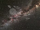 Co vidí Kepler. Výhled Keplerova teleskopu (mřížka vlevo) na oblohu s