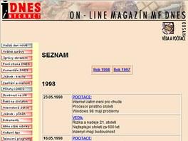 iDNES.cz v roce 1998 - rubrika V�da a po��ta�e
