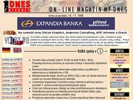 iDNES.cz v roce 1998 - homepage