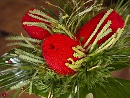 Vánoční kytice  s květy banksie má velikou výhodu - vydrží vám i několik týdnu,
