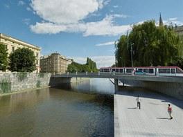 Vizualizace pohledu na koryto řeky Moravy v Olomouci z Blahoslavovy ulice u