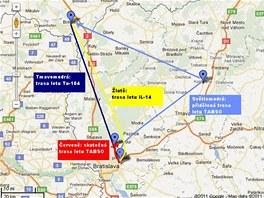 Mapka letů v oblasti tragédie letu TABSO