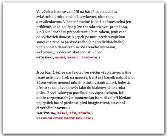 Z �vodn�ch stran svazku Nejlep�� �esk� b�sn� (2011) - citace z text� obou