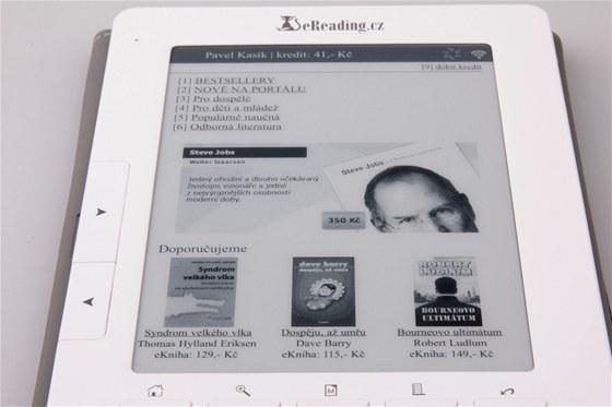 Obchod eReading.cz je přístupný přímo ze čtečky, a je velice povedený. Zvláštní