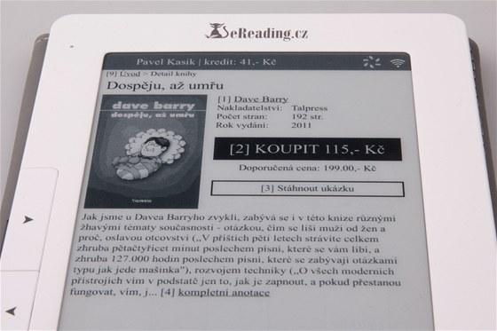 Při nakupování vidíte svůj kredit, můžete si přímo koupit knihu (stáhne se
