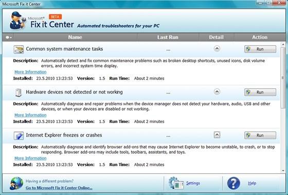 Nástroj Microsoft Fix it slouží k odstranění typických problémů se softwarem i