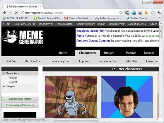 Meme Generator nabízí stovky podkladových obrázků pro vaši tvorbu, další si