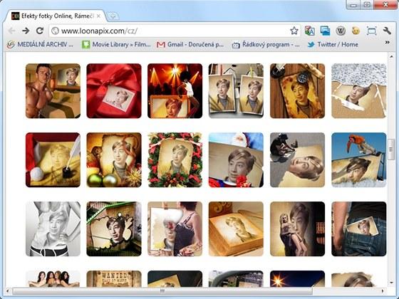 Rozsáhlá nabídka šablon online aplikace LoonaPix obsahuje i vánoční motivy