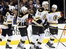 G�lov� radost hokejist� Bostonu. Zleva: Nathan Horton, David Krej��,  st�elec