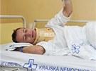 Skokan na ly��ch Roman Koudelka v libereck� nemocnici po p�du v tr�ninku na