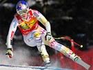 Americká lyžařka Lindsey Vonnová na trati super-G v Lake Louise.
