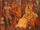 ANDREJ NEME� - Ateli�r - Mal�� a �ena (1936). Pl�tno, tempera. Galerie
