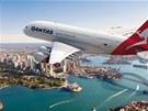 Letadlo aerolinek Qantas nad Sydney