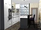 Pohled do kuchyně s ostrůvkem a barovým stolem