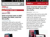 Srovnání mobilní verze stránek a aplikace