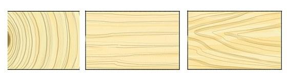 Kresba dřeva podle směru řezu