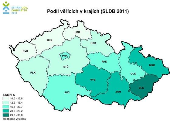 Podíl věřících v krajích ČR