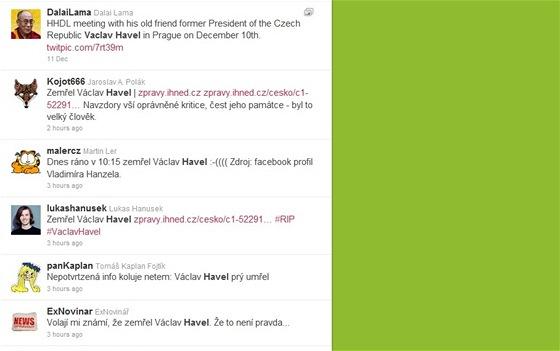 První neověřené informace o smrti prezidenta Václava Havla (neděle 18.12.2011)