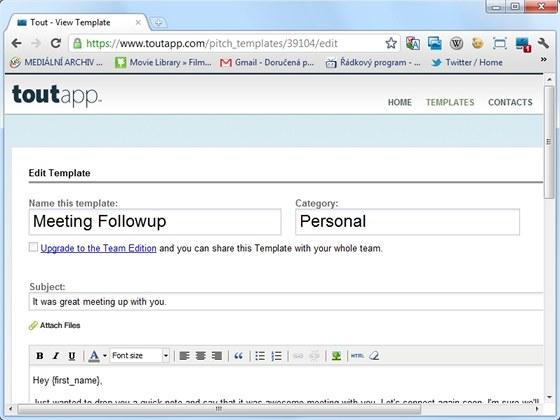 Šablony e-mailů, připravené v online aplikaci Tout si můžete snadno upravit
