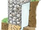 Pro použití ve svahu je třeba gabion v místech styku s okolní zeminou opatřit
