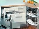 Využít každý centimetr kuchyňské linky pomůže rohový systém Space corner firmy