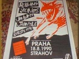 Originální plakát ke koncertu Rolling Stones v Praze 1990