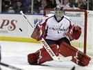 LEPŠÍ NEŽ VOKOUN? Michal Neuvirth zasahuje proti střele z holí hokejistů Sabres