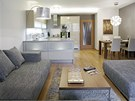 Hlavní obytný prostor má rozlohu 34 m2;, vejde se do něj kuchyň, jídelní kout i