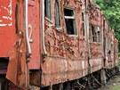Vlak zdevastovaný ničivou vlnou z 26. prosince 2004.