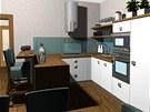 Kuchyňská linka nemá horní závěsné skříňky.