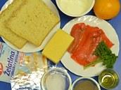Suroviny potřebné k přípravě želatinových lososových terčíků
