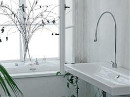 V čistě bílé koupelně s volně stojící vanou (Jika) a puristickým umyvadlem
