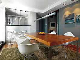 Kuchyňský kout odděluje od prostoru jídelny barový pult.
