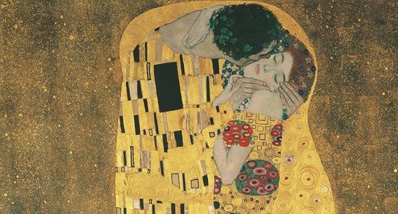 Gustav Klimt: Polibek (Milenci) - 1907-8