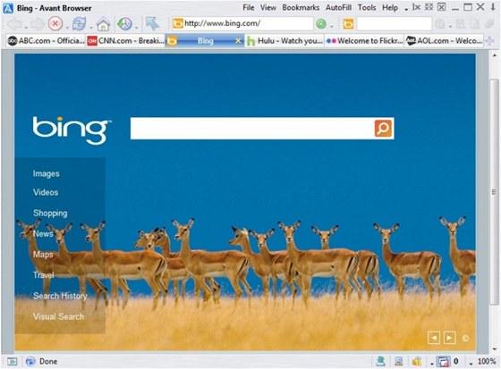 Avant Browser 2012 využívá jádro prohlížeče Internet Explorer a doplňuje