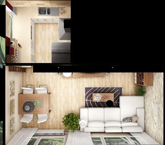 Dispoziční řešení kuchyně a obývacího pokoje