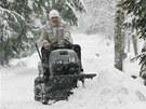 Silné sněžení v Deštném v Orlických horách. (5. ledna 2012)