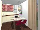 Kuchyňská linka je v krémové barvě, pracovní deska je v dekoru dřeva.