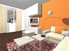 Na podlaze v obývacím pokoji jsou renovované parkety.