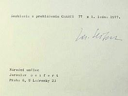 Podpis Jaroslava Seiferta pod prohlášením Charty 77
