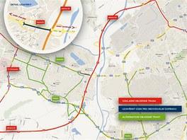 Mapa objížděk kvůli chystané přestavbě Svinovských mostů.