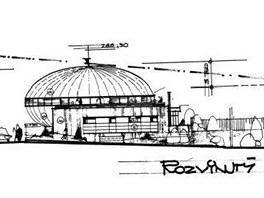 Nákres budovy nového hradeckého planetária