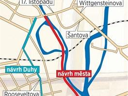 Zat�mco radnic� schv�len� trasa nov� tramvajov� trat� vede pod�l �eky Moravy,