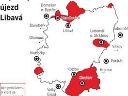 Mapa znázorňující oblasti, které přestanou být součástí vojenského újezdu