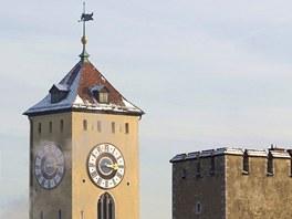 Regensburg, zimní pohled přes střechy starého města
